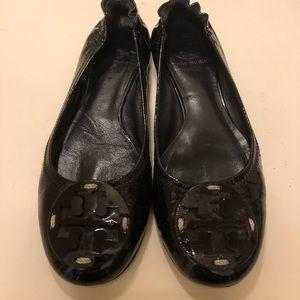Tory Burch Reva Flat, black patent leather, size 6